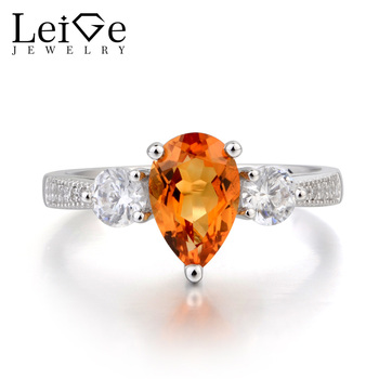 Leige Jewelry November Birthstone Natural Citrine Ring Wedding Ring Pear Cut Yellow Gemstone 925 Sterling Silver Ring for Women