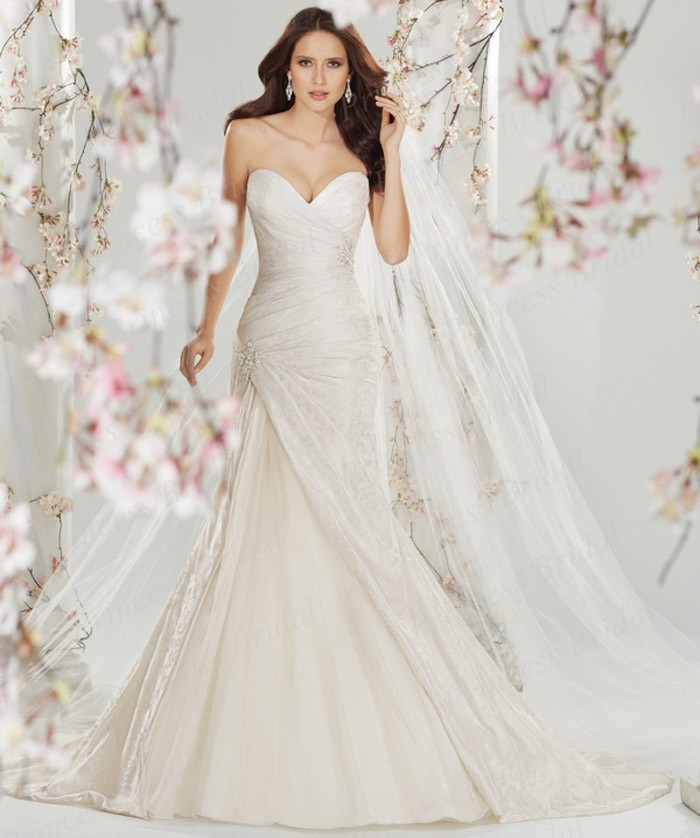 Free Shipping Fitted Bodice Mermaid Sweetheart Pleat Corset Back Sweep Train Wedding Dress Online Shop ST11401 In Dresses From Weddings Events On