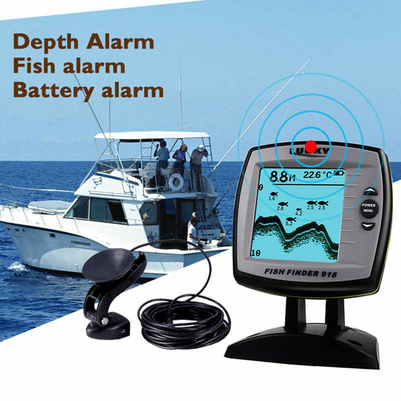 FF918-180S Fish Finder Wired Transducer Sensor Fishfinder 45 Degrees Echo LCD Fish Locator Boat English/Russian Menu Pesca Probe
