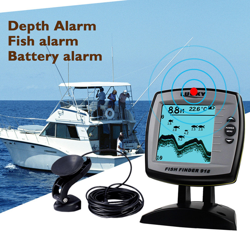 FF918 180S Fish Finder Wired Transducer Sensor Fishfinder 45 Degrees Echo LCD Fish Locator Boat English/Russian Menu Pesca Probe