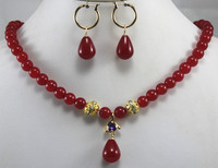 Hot Sell New Designed 8mm Red Jadenecklace Match Waterdrop Jade Earrings Pendant Necklace Jewelry Set For