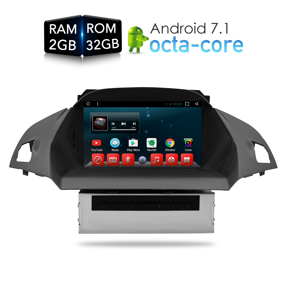 Android 7.1 Car DVD Player GPS Glonass Navigation Multimedia for Europe Ford Kuga C Max 2013+ Auto Radio Audio Video Stereo android 7 1 1 car dvd stereo player gps glonass navigation multimedia for ford focus 2012 2013 2014 2015 auto wifi radio