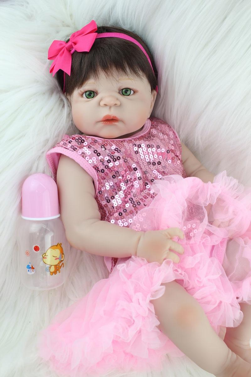 55cm Full Silicone Body Reborn Girl Baby Doll Toys Newborn Princess Babies Doll Fashion  ...