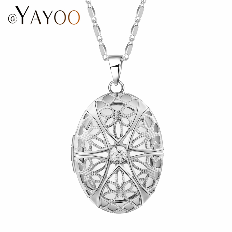 AYAYOO Locket Necklaces & Pendants Women Long Necklace Wedding Silver/Gold Color Photo Chains Metal Geometric Necklaces ...