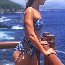 LIVA GIRL sexy lady flower print bikini set strap fashion two-piece beach swimsuit push-up bra fast dry swimwear high waist