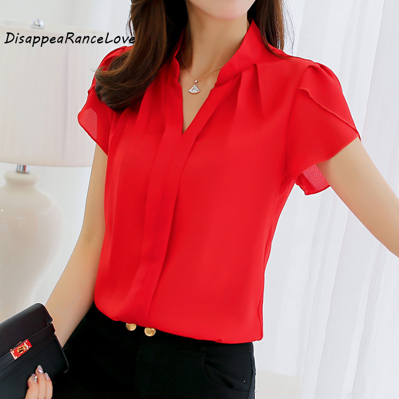 Blå Vit Röd Blus Ny Vår och Sommar Kvinnlig Toppar Plus Storlek 3XL Skjortor Casual Top Fashion Slim Kortärmad Chiffon Shirt