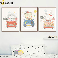 Cute Cartoon Rabbit Bear Lion Car Nordic Posters And Prints Nursery Wall Art Canvas Painting Wall Pictures Baby Kids Room Decor cartoon cute rabbit bear quote nursery wall art canvas painting nordic posters and prints wall pictures for baby kids room decor