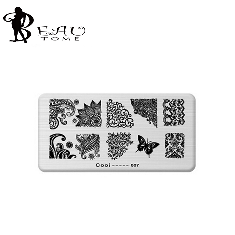 Beautome 1pcs New Nail Template Cooi Series Nail Art Plate Stainless Steel Image Konad Nail Art Stamping Template DIY Nail Tool