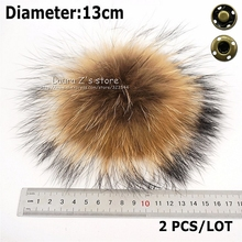 Free Shipping11-12cm 2pcs real raccoon fur ball key chain fur hat winter hats for shoes fur cap accessories