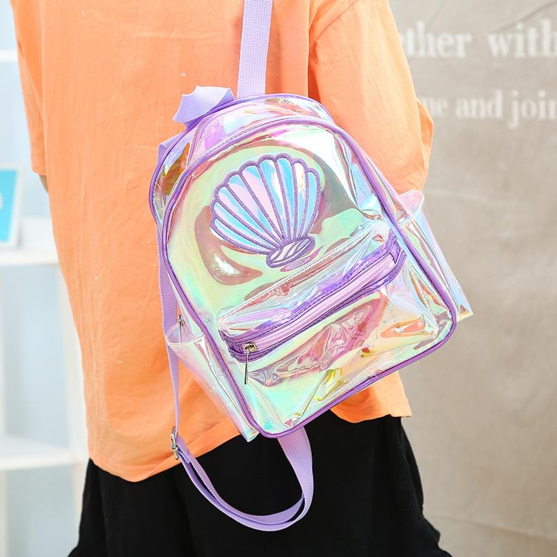 Women Laser PVC Transparent Mermaid Backpack Girls Large Capacity Book Bag Fashion Shell Book Bag Teenager Student School Bag
