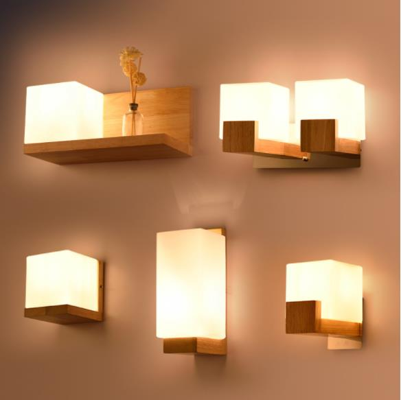 Modern Led Wooden Wall Lamps Nordic Frosted Glass Wood Lights Sconce Hallway Aisel Hotel Bedroom Minimalist Solid Wood Corridor|pendant lights|pendant lamp|retro industrial - title=