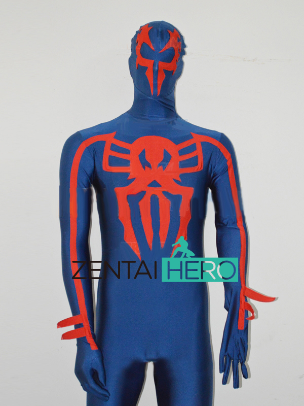Free Shipping DHL NEW Spider-man 2099 Blue Spandex Cosplay Superhero Costume 2017 Halloween Spiderman Costume 16071402