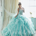 Elegante da luva do tampão bordado luz azul vestidos quinceanera 2017 new arrivals lace up ruffles masquerade vestidos de baile sweet 16