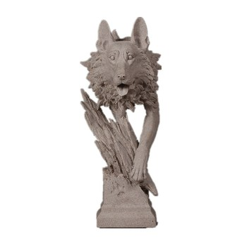 Dog Cats Head Bear Elephant Wolf Sheep Bust Sculpture Animal Living Room Sandstone Crafts Home Decoration R101