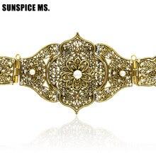 خمر سيدة نحت المعادن الخصر سلسلة اليدوية أحزمة مضفرة المغرب نمط ضبط طول العتيقة الذهب اللون العرقية مجوهرات للجسم