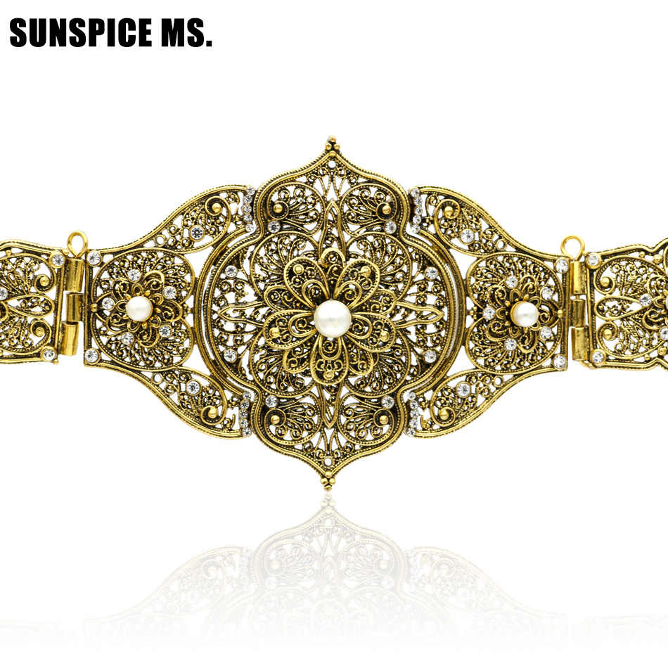 86c5af764fed7 Vintage Lady Carving Metal Waist Chain Handmade Braided Belts Morocco Style  Adjust Length Antique Gold Color