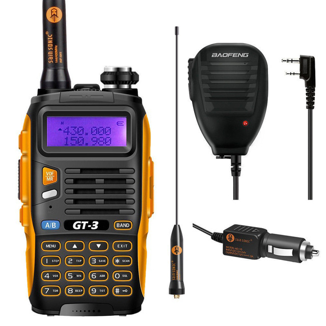 Baofeng GT-3 Mark II VHF/UHF 136-174/400-520 MHz Dual-Band FM Ham Two-way Radio Walkie Talkie + Original Baofeng Remote Speaker
