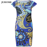 2017 New Style Plus Size Womens Clothes O Neck Retro Printed Sexy Celebrity Party Dress Short