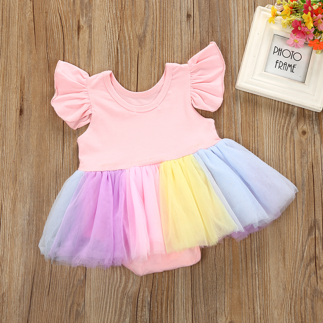 1c204e429d Newborn Toddler Baby Girls Unicorn Lace Tutu Bodysuit Ruffles Sleeve Mini Dress  Outfits Costume Size 0 24M-in Dresses from Mother & Kids on Aliexpress.com  ...