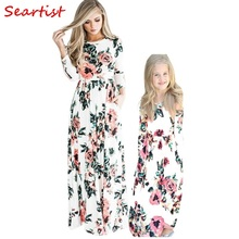 Seartist 2019 New Mom and Daughter Dress Mother and Girl Dresses Kids Summer Long Sleeved Floral Beach Bohemian Party Dress C38 2019 mother and daughter cothes outfit long dress chiffon off shoulder floral print bohemian beach dress