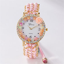 Luxury Handmade Braided Multicolor Crystal Bracelet Watch Ladies Rope Flower Watch Quarzt Watches Wristwatch Relogio Feminino braided strand bracelet watch