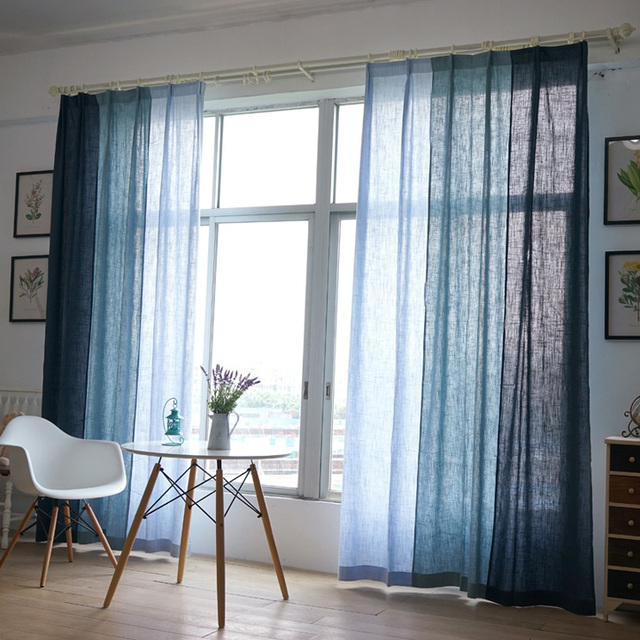 Blue Cotton Texture American Country Style Decorative Cloth Curtain Linen  Fabric Curtains For Living Room Cortinas Part 38