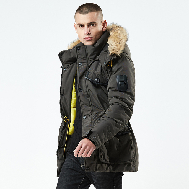Get Discount Price NIGRITY 2018 Winter Jacket Men 2018 Fashion Stand Collar Male Parka Jacket Mens Solid Thick Jackets and long Coat Man Parkas
