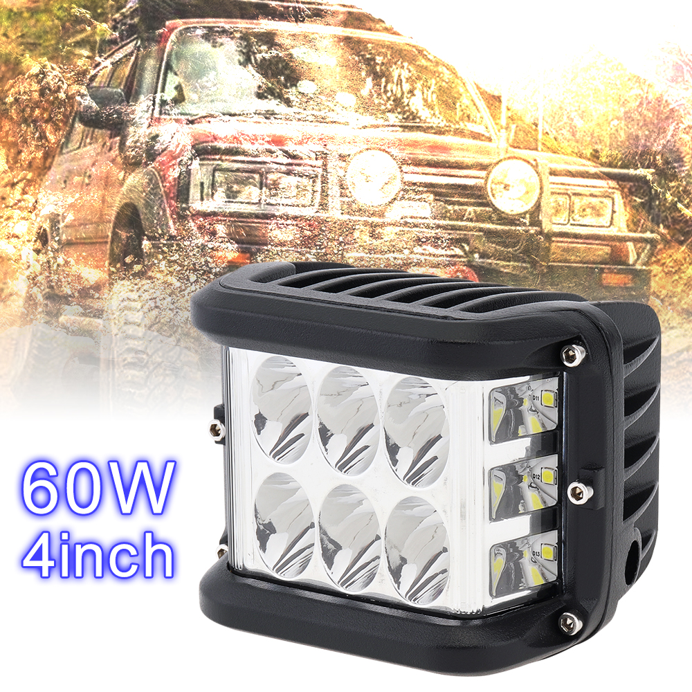 4 Inch <font><b>12V</b></font> <font><b>80V</b></font> 60W White Waterproof LED Work Light with Multiple Lighting Mode Car Working Light for Off-road Car Pickup Wagon image