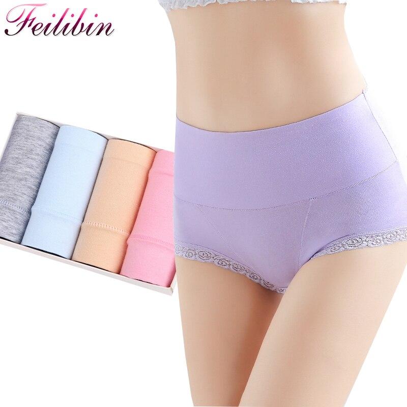 Feilibin 4Pcs/lot Women Cotton   Panties   High Waist Comfort Underwear Sexy Lace Female Briefs Seamless Slimming Girls Lingerie