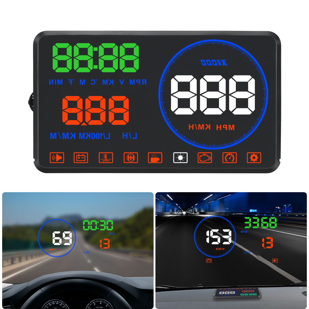 Car Speedometer On-board Computer OBD2 HUD Head Up Display Error Code  Windshield Projector Fuel Mileage Water Temp Speed Warning