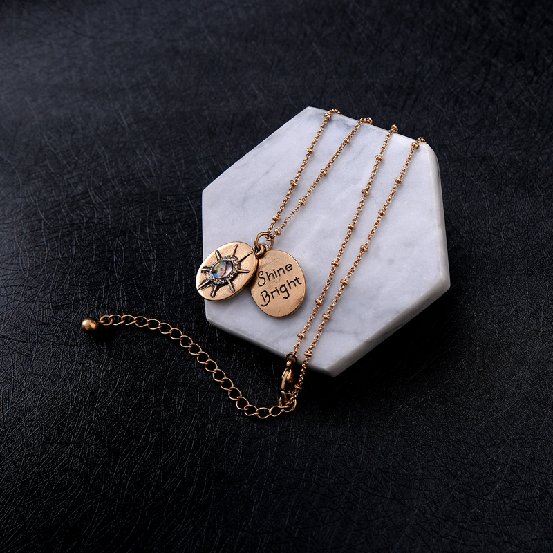 JOOLIM Jewelry Shine Bright Script Pendant Necklace Gold Color Round Pendant Necklace Jewelry Wholesale Free shipping in Pendant Necklaces from Jewelry Accessories