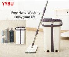 YYBU швабра швабра для мытья полов плоская Швабра для чистки полов Squeeze Free Ручная стирка инструмент для домашней уборки ленивая швабра ведро с выдавливающим устройством