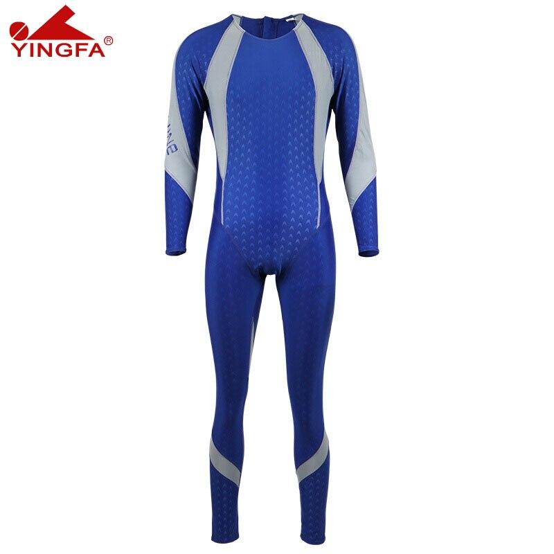 Yingfa professional swimwear men suits diving piece swimsuit sharkskin long sleeved trousers sunscreen swimwear 942 3 XL