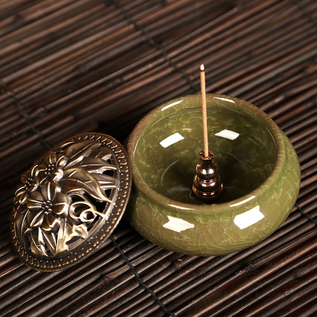 1pcs Alloy Copper Incense Burner Holder for Incense Stick Coil Bottle Gourd Shaped Incense Holder