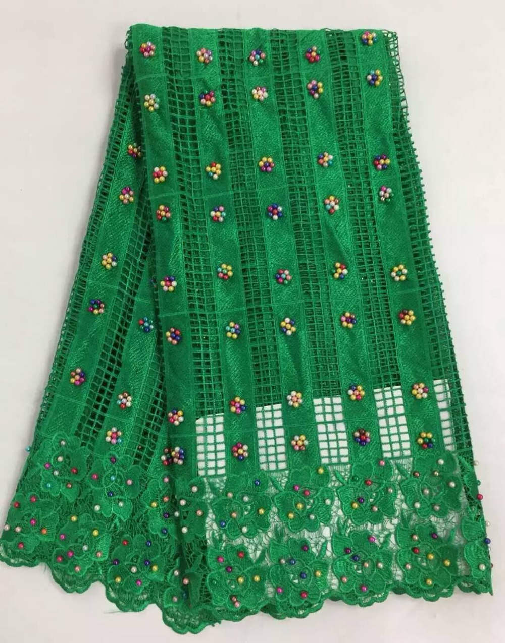 Fashion Design African Guipure Lace Fabric Green Nigerian Dry Lace With Beads French Cord Lace Women