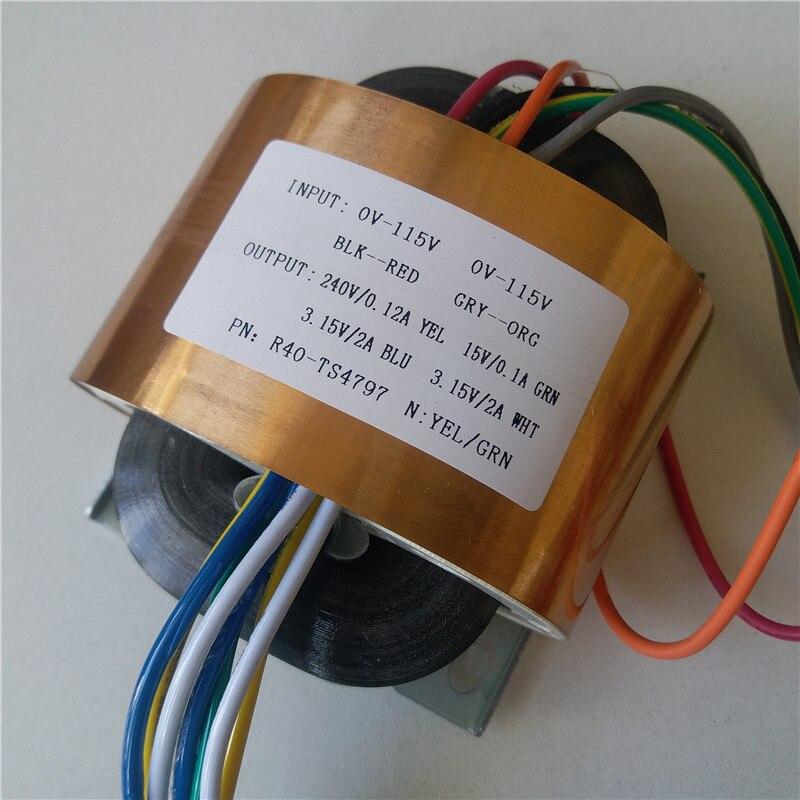 цена на 240V 0.12A 15V 0.1A 2*3.15V 2A R Core Transformer 45VA R40 custom transformer 115/115V with copper shield Power amplifier