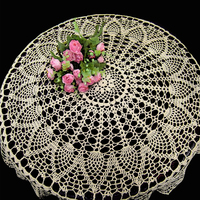 90cm Hand Made Crochet Vintage Knit Retro Decorative Hook Engraving Flower Weaved Knitted Round Tablecloth