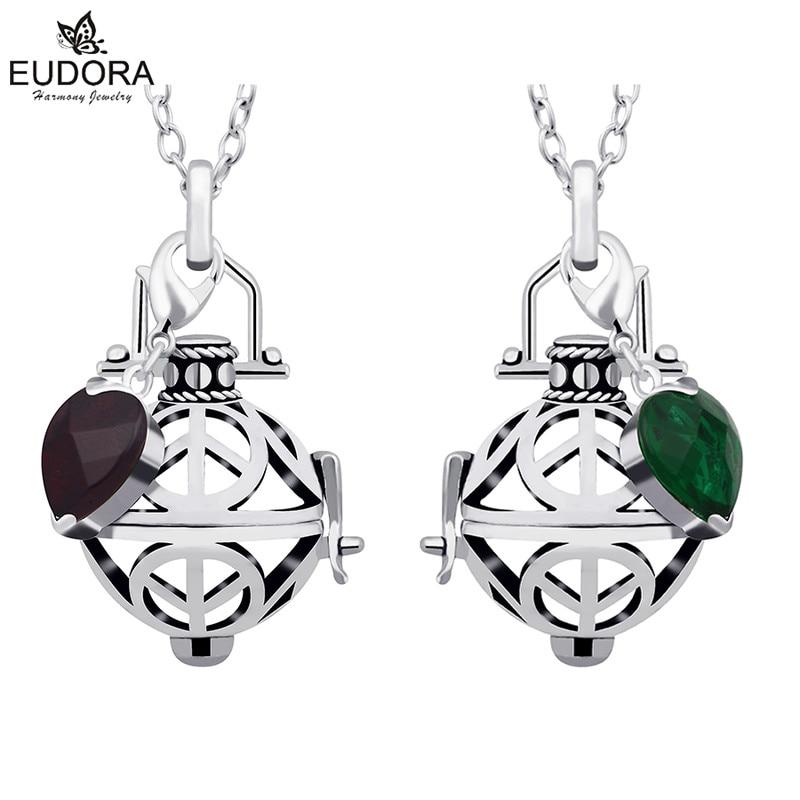 Eudora Harmony Ball Floating Pendants Fashion Glass Crystal Pendant Jewelry Baby Angel Caller Locket Cage Pendants Necklace Gift
