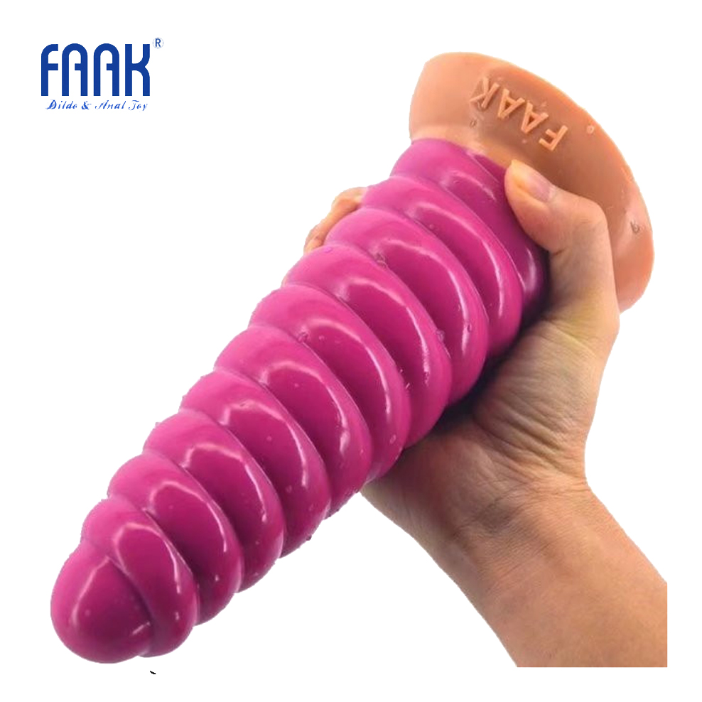 FAAK silicone huge anal plug animal conch dildo suction cup stitching pink long butt plug adult