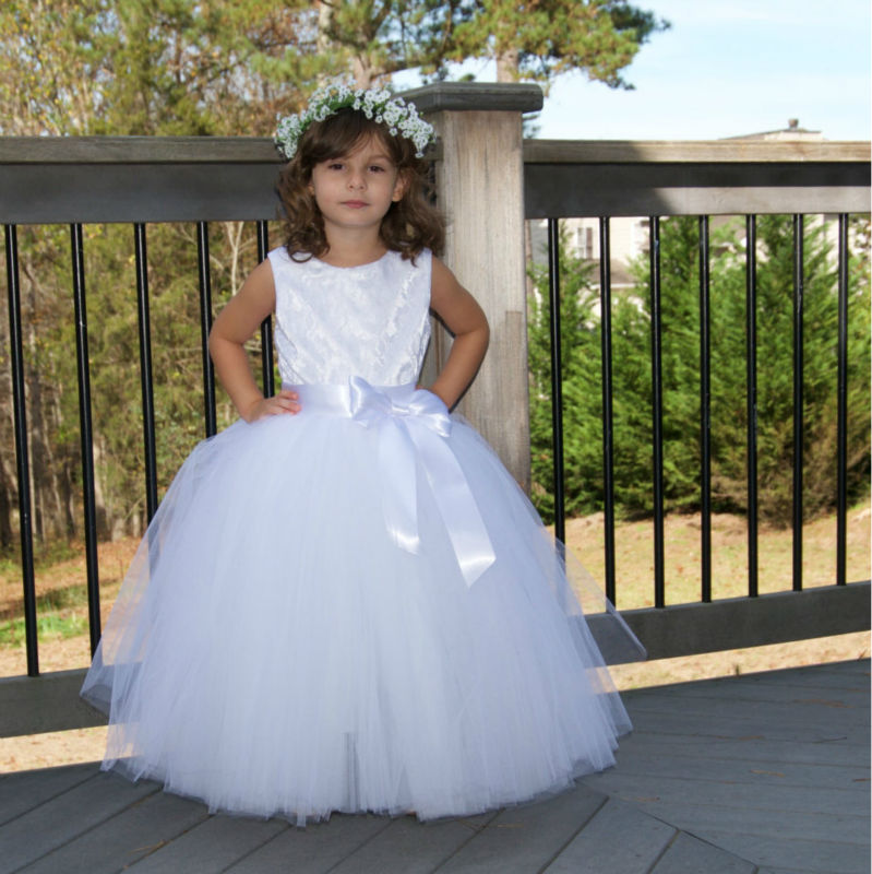 Lovely Ball Gown Lace White   Flower     Girl     Dresses   2018 Cap Sleeve Scoop Tulle Bow Sashes Floor Length Child Party   Dresses   xq20