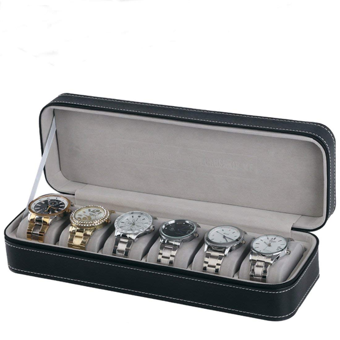 Buy 6 Slot Watch Box Portable Travel Zipper Case Collector Storage Jewelry Storage Box(Black) for only 16.88 USD