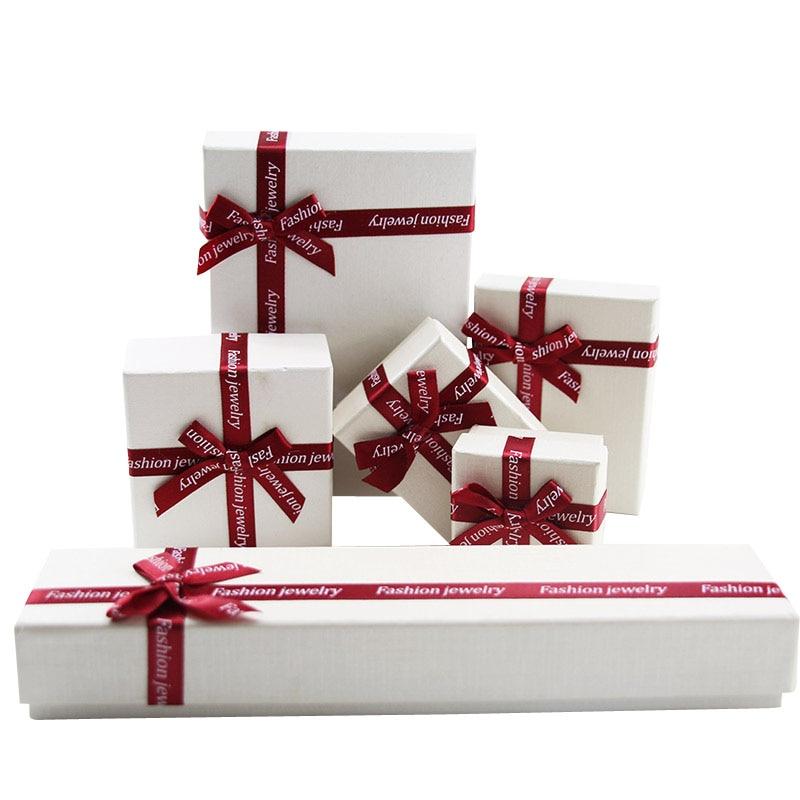 Available OEM Logo 60pcs/lot Ribbon White Ring Box Earring Packaging Long White Necklace Box Big Wedding Jewelery Set Packing