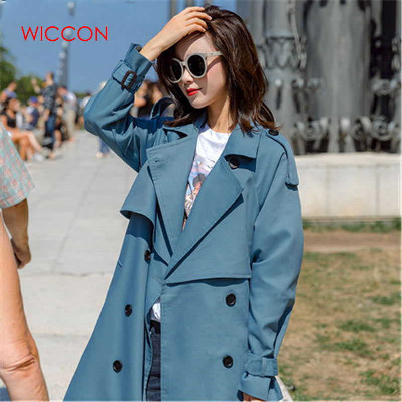 Fashion Windbreaker Coats Long 2019 New Spring Autumn Coat Women   Trench   Coats Korean Loose Casual Ladies Outerwear