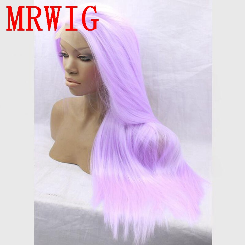 MRWIG Real Hair Free Part Silky Straight Cosplay Purple 14 26in Synthetic Glueless Front Lace Wig 150% High Density