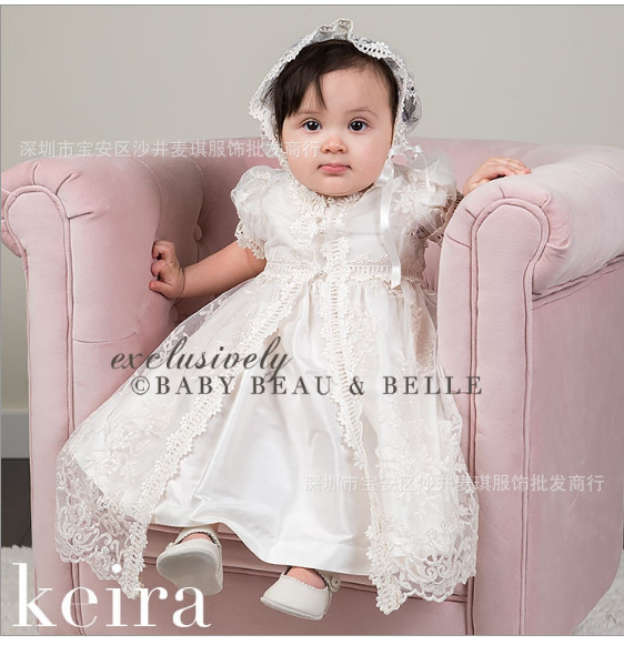 baby girl christening gowns 1 year birthday dress handmade silk Lace baby girl baptism dress vestidos infantil party girl dress