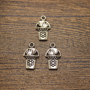25pcs-- 12x21mm Gardening Pail W/ Tools Charms Antique Silver Bucket Charms Pendants