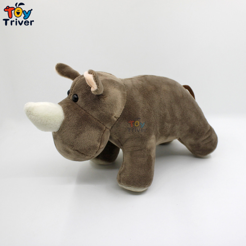 25cm Simulation Soft Plush Rhino Hippo Toy Stuffed Doll Toys Hippos Wild Animals Children Kids Baby Student Special Gift Triver cute 45cm stuffed soft plush penguin toys stuffed animals doll soft sleep pillow cushion for gift birthady party gift baby toy