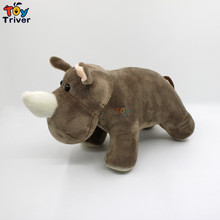 25cm Simulation Soft Plush Rhino Hippo Toy Stuffed Doll Toys Hippos Wild Animals Children Kids Baby Student Special Gift Triver цена 2017