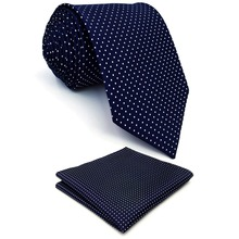 Tie male formal commercial Dark Blue white dot silk casual tie gift box set