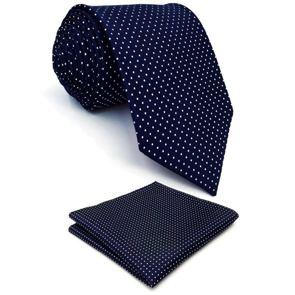 ca926e28143c2 S6 Dots Navy Dark Blue White Ties For Men Silk Neck Tie and Pocket Square  Set
